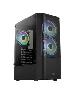 Aerocool Quantum Mesh MID TOWER CASE with Tempered Glass - Black