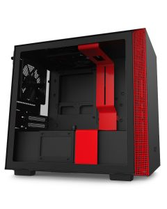 NZXT H210 Mini-ITX Case with Tempered Glass - Black/Red