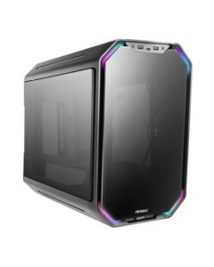 Antec Dark Cube Mid-Cube Gaming Case w/ Glass Windows, Micro ATX, LED Lighting Bars, Dual Front Panel Options, USB-C