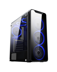 Blaze Mid-Tower Gaming Chassis 6 x Single Ring Fan Blue Tempered Glass