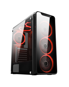 Blaze Mid-Tower Gaming Case With 6 x Single Ring Red Fans Tempered Glass Side Window