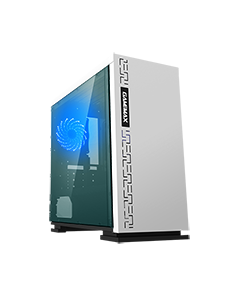 Expedition White Gaming Matx PC Case Rear LED Fan & Full Side Window