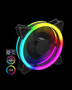Velocity 12cm Rainbow ARGB Fan RTB 3pin M&F Aura Header 3pin/4pin Power