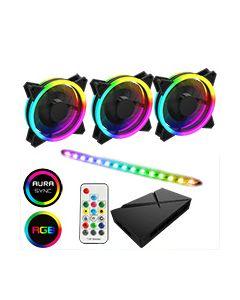 ARGB Fan Hub + Strip kit 3 x Velocity Fans 1x Viper Strip 1x Hub