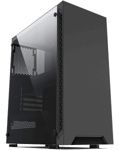 IONZ KZ08 CLASSIC BLACK WITH TEMPERED GLASS SIDE PANEL ATX CASE