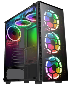 Raider Mid-Tower Gaming Case 4 x Halo Spectrum RGB Fans Tempered Glass Front and Side MB SYNC